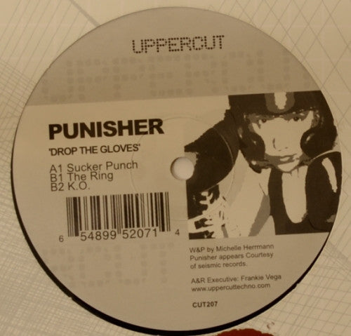 "Punisher ‎– Drop The Gloves - Mint- 12"" Single USA 2005 - Detroit Techno"