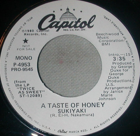 "A Taste Of Honey - Sukiyaki Stereo/Mono Promo Mint- - 7"" Single 45RPM 1980 Capitol USA - Funk/Soul"