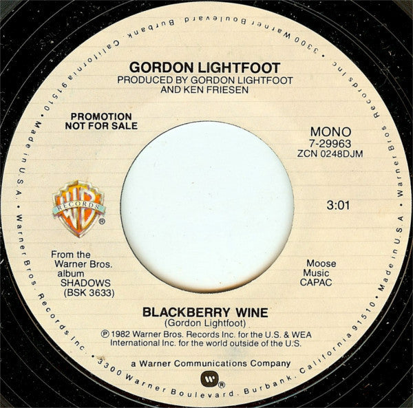 "Gordon Lightfoot - Blackberry Wine Stereo/Mono Promo Mint- - 7"" Single 45RPM 1982 Warner Bros. USA - Country"