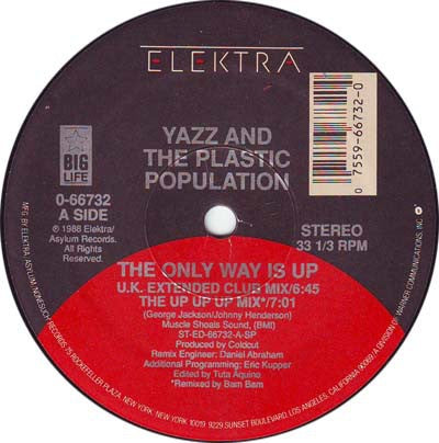 "Yazz And The Plastic Population ‎- The Only Way Is Up - VG+ 12"" Single 1988 USA - Acid House"