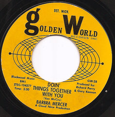 "Barbara Mercer - Doin' Things Together With You / Nobody Loves You Like Me VG- - 7"" Single 45RPM 1965 Golden World USA - Detroit R&B"