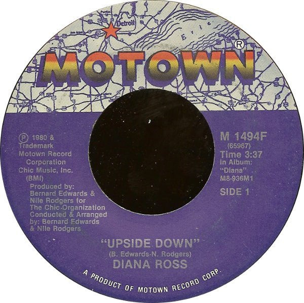 "Diana Ross ‎– Upside Down / Friend To Friend - VG+ 7"" Single 45 Record 1980 USA Motown Records - Soul / Disco"