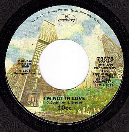 10cc ‎– I'm Not In Love / Channel Swimmer - VG+ 45rpm 1975 USA Mercury Records - Rock / Pop