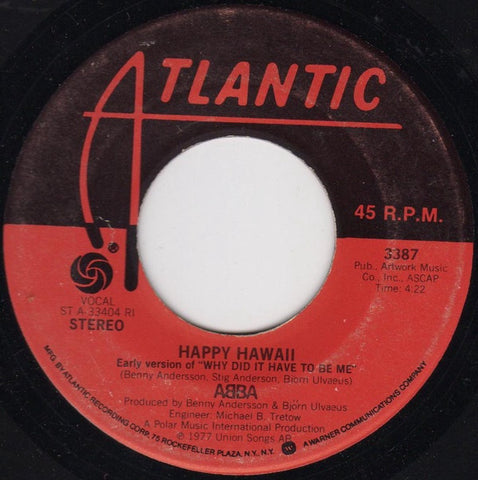 ABBA ‎– Knowing Me, Knowing You / Happy Hawaii - VG+ 45rpm 1977 USA - Pop