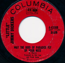 """Little"" Jimmy Dickens ‎- May The Bird Of Paradise Fly Up Your Nose - VG+ 7"" Single 45 RPM 1965 USA - Country"