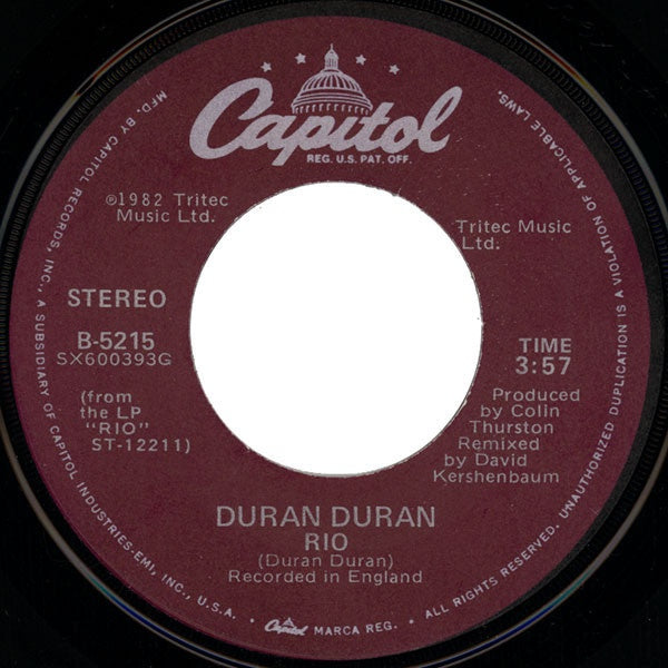 Duran Duran ‎– Rio / Hold Back The Rain - Mint- 45rpm 1983 USA Capitol Records- Rock / Synth-Pop / New Wave
