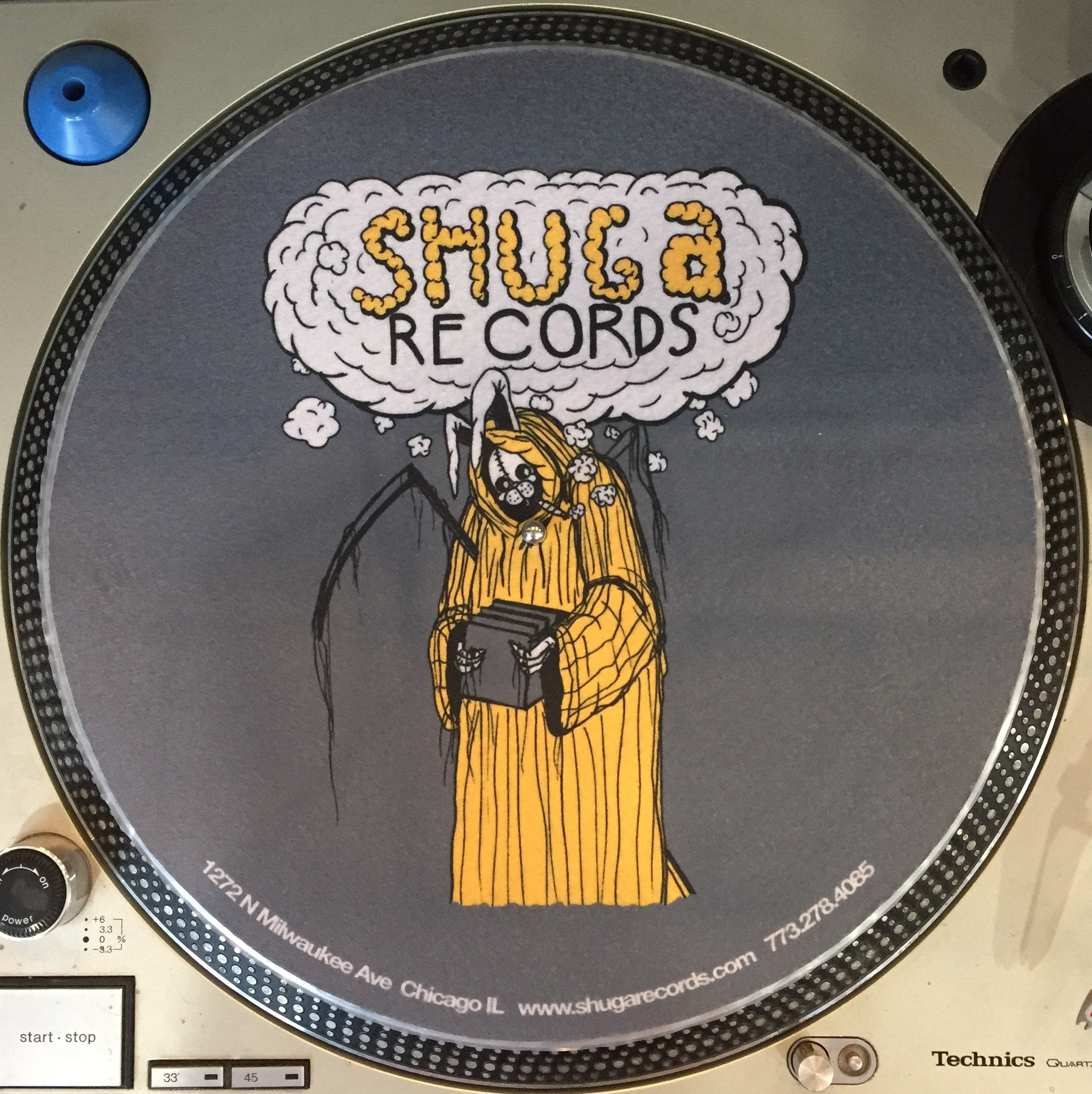 Shuga Records 2016 Limited Edition Vinyl Record Slipmat Uncle Harvey Uncle Bunny grey & yellow