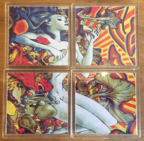 Psychedelic Naked Girl Psychedelic - Blotter Art - Highly Collectible Artwork Blotter Paper Coaster (4 pack)