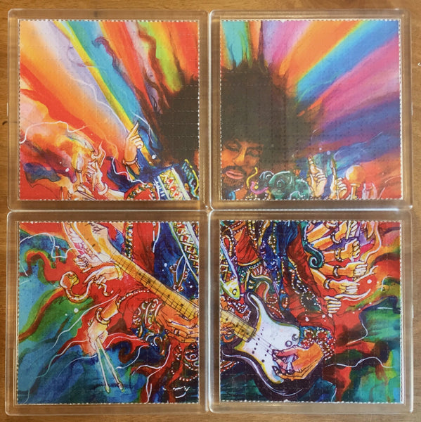 Jimi Hendrix - Psychedelic - Blotter Art - Highly Collectible Artwork Blotter Paper Coaster (4 pack)