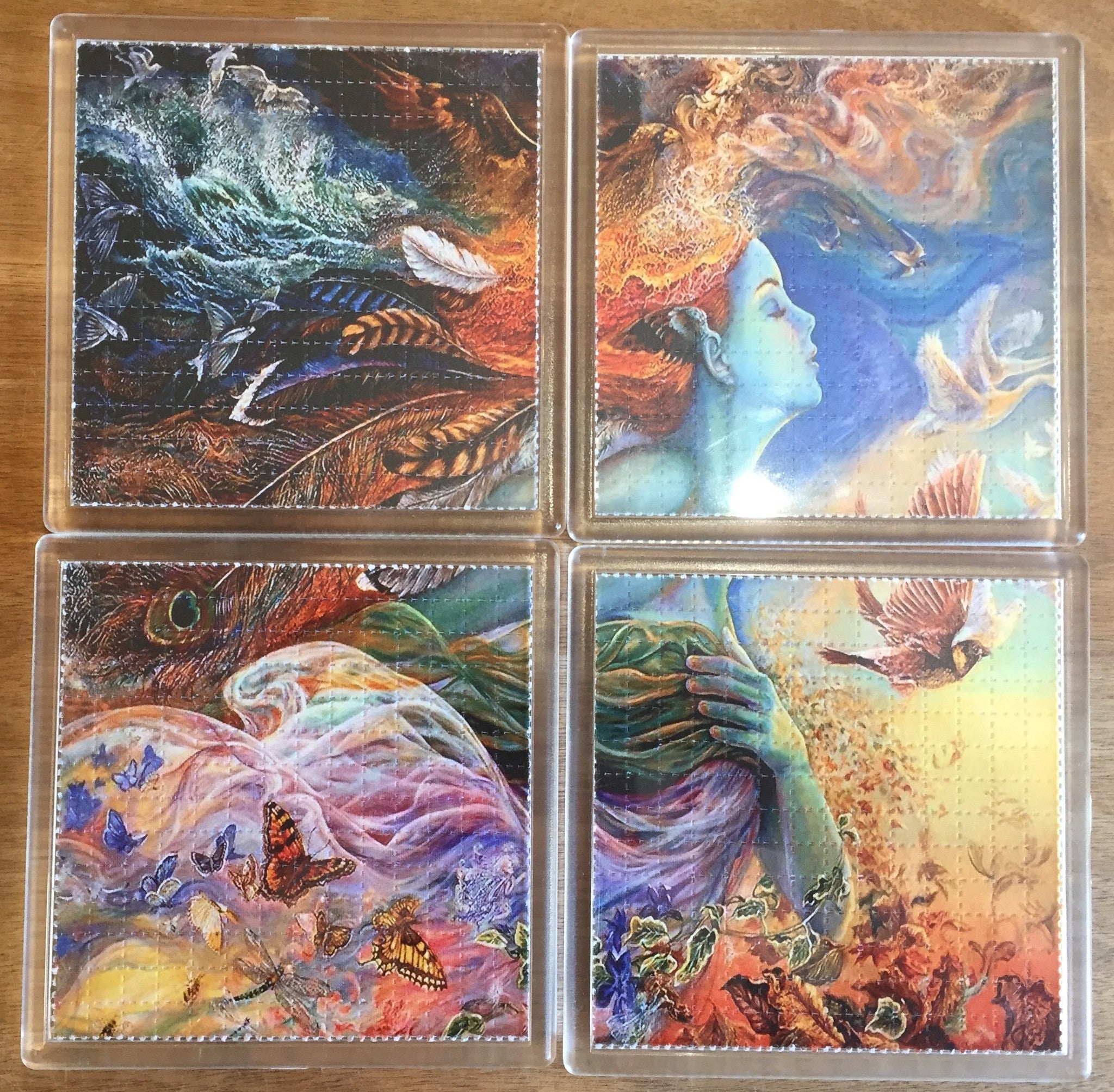 Dreamy Girl / Mother Nature Psychedelic - Blotter Art - Highly Collectible Artwork Blotter Paper Coaster (4 pack)