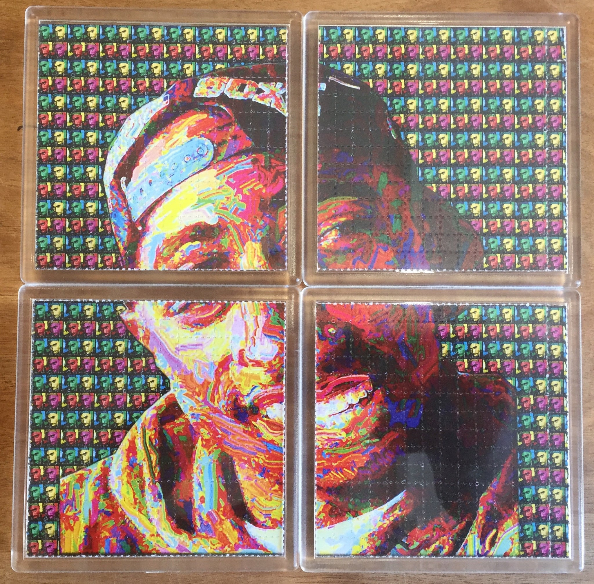 Tupac Shakur / 2Pac - Psychedelic - Blotter Art - Highly Collectible Artwork Blotter Paper Coaster (4 pack)