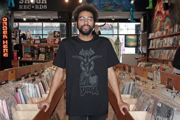 Shuga Records 'Baphomet' Design 2018 Repress Dark Gray on Black T-Shirt