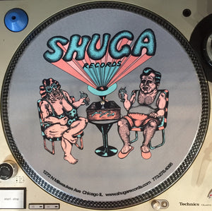"Shuga Records 2015 Limited Edition Vinyl Record Slipmat Capozzoli ""Sun-Bathing Animals"" Shuga Couple in Lawn Chairs"