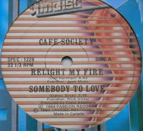"Café Society / Astaire – Relight My Fire / Somebody To Love / Power Of Love / Love Trap - VG- 12"" Single (Canada Impor) 1984 - Italo-Disco"