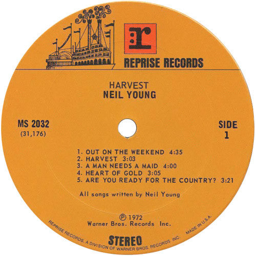 Neil Young ‎– Harvest - VG 1972 Stereo (Original Press Textured Sleeve With Textured Insert & Textured Inner Sleeve) USA - Rock