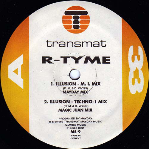 "R-Tyme (Darryl Wynn & Derrick May)‎– Illusion / R-Theme - VG- (Low Grade)  12"" Single USA 1989 (RARE Detroit Techno!!) - Techno"