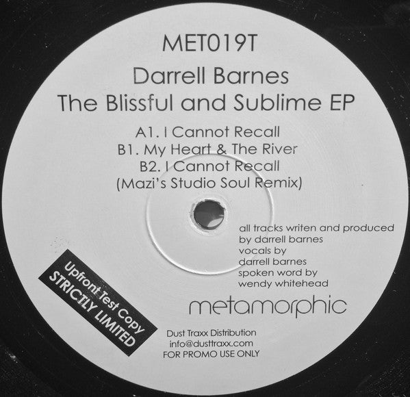 "Darrell Barnes - The Blissful and Sublime EP - Mint 12"" Single USA 2003 Metamorphic - Chicago House"