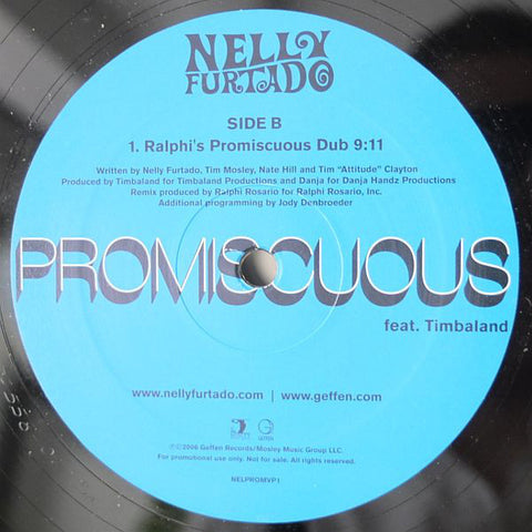 "Nelly Furtado ‎– Promiscuous Remixes - New Vinyl Record 12"" Single 2006 USA - Hip Hop/Dancehall"