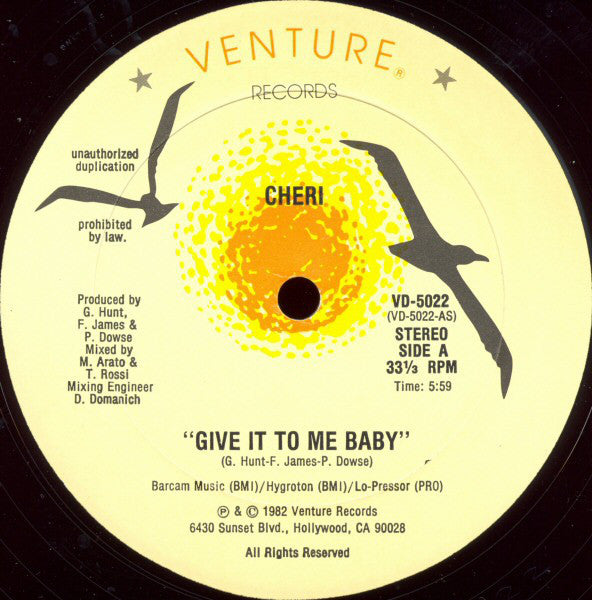 "Cheri – Give It To Me Baby - VG+ 12"" Single USA 1982 - Funk/Boogie"