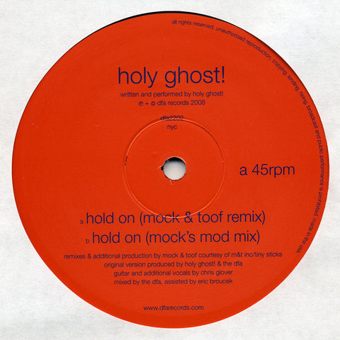 "Holy Ghost! ‎– Hold On - Mock & Toof Remixes - New 12"" Single Record 2008 DFA USA Vinyl - Electronica / House / Disco"
