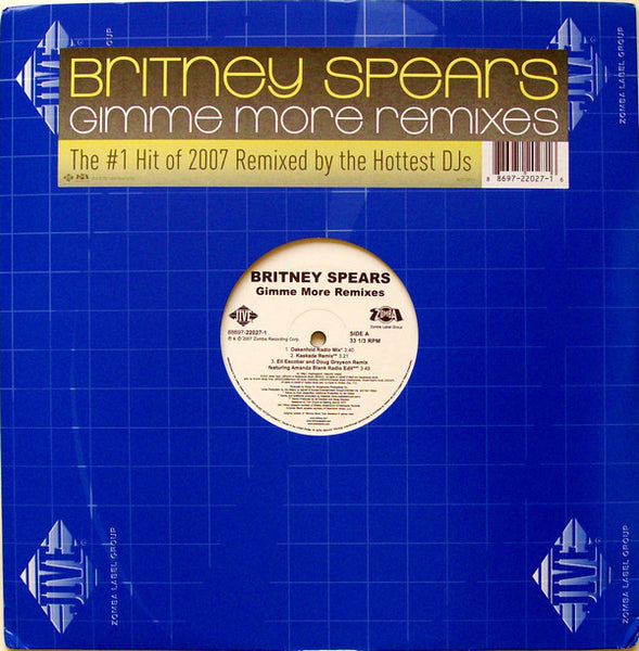 "Britney Spears – Gimme More (Remixes) - VG+ 12""x2 USA Promo 2007 - House"