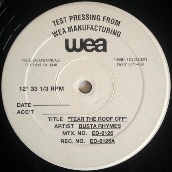 "Busta Rhymes – Tear The Roof Off - VG+ 1998 USA 12"" Promo Test Pressing - Hip Hop"