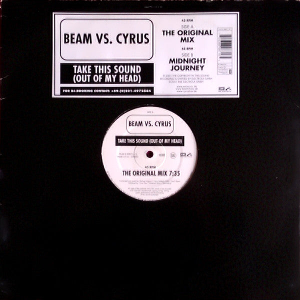 "Beam vs. Cyrus – Take This Sound (Out Of My Head) - VG 12"" German Import 2001 - Trance"