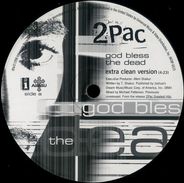 "2Pac – God Bless The Dead - VG 12"" USA 1998 Promo - Hip Hop - Shuga Records Chicago"