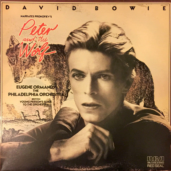 David Bowie Narrates Prokofiev / Eugene Ormandy & The Philadelphia Orchestra Perform Britten ‎– Peter And The Wolf / Young Person's Guide To The Orchestra - VG+ Lp Record 1978 RCA USA Green Vinyl - Classical / Story
