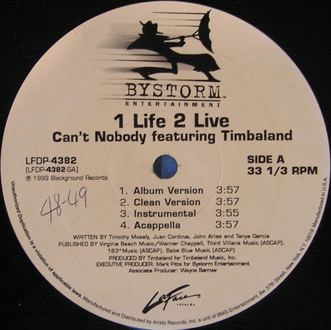 "1 Life 2 Live feat. Timbaland – Can't Nobody - VG+ 12"" Single USA 1999 (Promo) - Hip Hop - Shuga Records Chicago"
