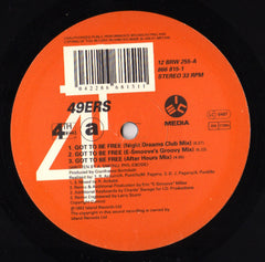 "49ers ‎- Got To Be Free 12"" Single 33RPM VG+ 1992 Great Jones PROMO  USA - House"