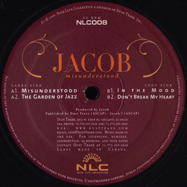 "Jacob  ‎– Misunderstood - Mint- 12"" Single 1998 USA - Chicago Deep House"