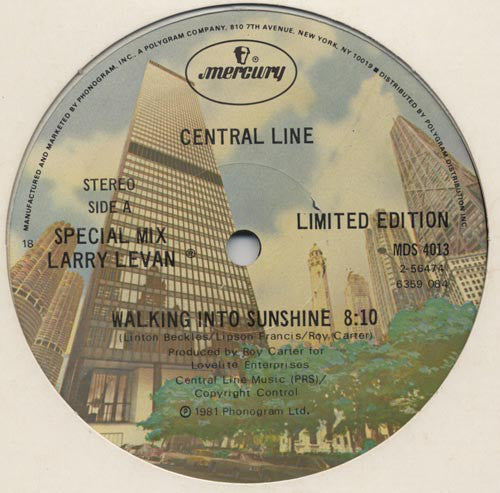 "Central Line – Walking Into Sunshine - VG+ 12"" USA 1981 - Funk"