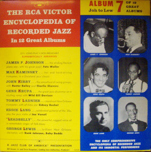 "Various – The RCA Victor Encyclopedia Of Recorded Jazz: Album 7 - VG+ 10"" 1956 Mono USA - Jazz"