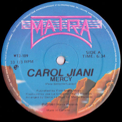 "Carol Jiani – The Woman In Me / Mercy - VG 12"" USA - Hi NRG/Disco"