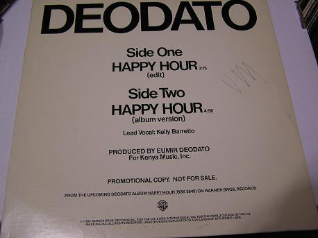 "Deodato ‎– Happy Hour - Mint- 12"" Single Record 1982 USA Promo Vinyl - Disco"