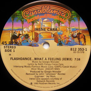 "Irene Cara ‎– Flashdance ... What A Feeling (Remix) Mint- - 12"" Single 1983 Casablanca USA - Synth-pop / Disco"