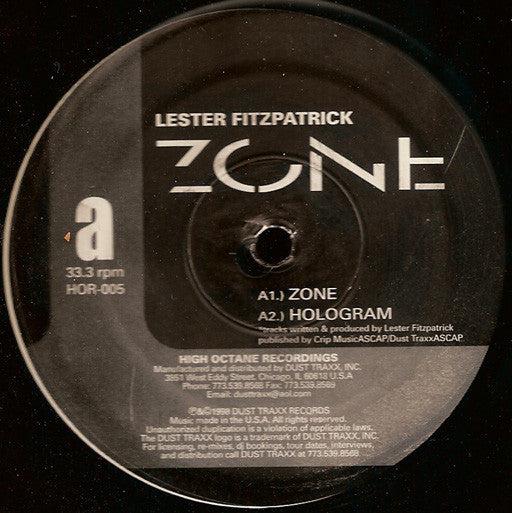 "Lester Fitzpatrick ‎– Zone - New 12"" Single Record 1998 High Octane USA Vinyl - Chicago House / Chicago Techno"