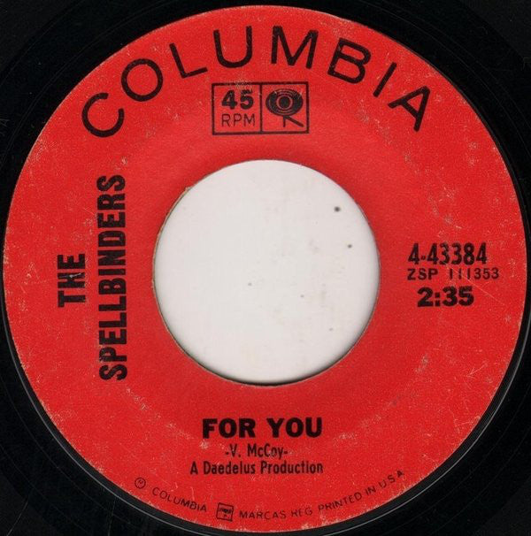"The Spellbinders ‎– For You / Stone In Love  VG 7"" Single 45 Record 1965 USA - Soul"