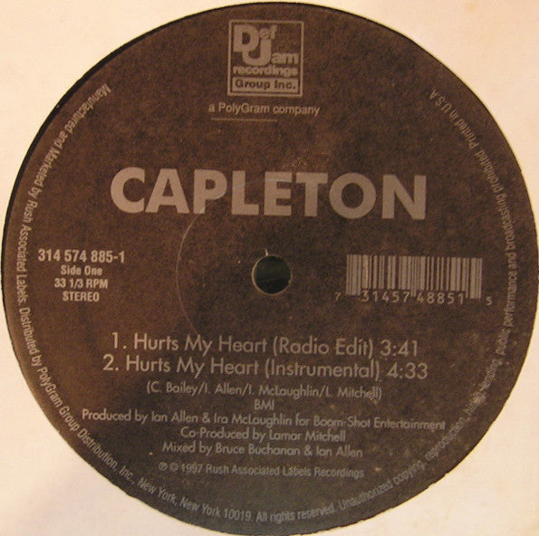 "Capleton – Hurts My Heart / Nah Bow - VG+ 12"" Single USA 1997 - Reggae/Dancehall"