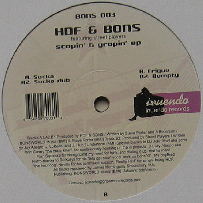 "HDF & Bons - Scopin' & Gropin' EP - Mint 12"" Single USA/UK 2004 - Chicago House"