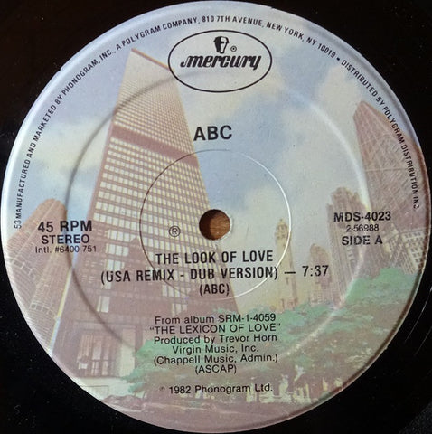 "ABC ‎– The Look Of Love - VG+ 12"" Single Record 1982 USA Original Vinyl - Synth-Pop"