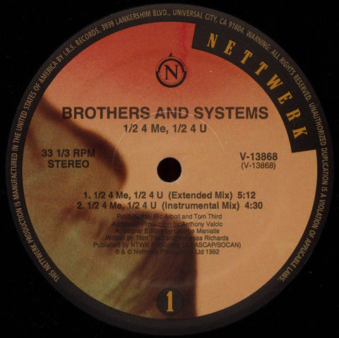 "Brothers And Systems – 1/2 4 Me, 1/2 4 U - VG+ 12"" USA 1992 - Breaks"