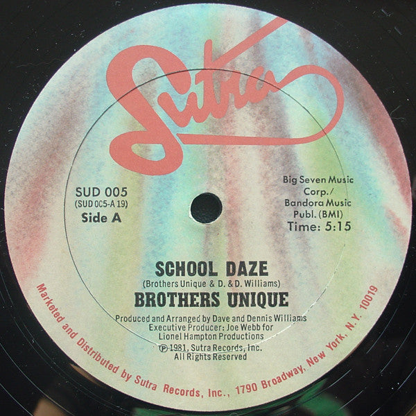 "Brothers Unique – School Daze = VG+ 12"" Single USA PROMO 1981 - Funk"