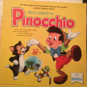 Jiminy Cricket ‎– Walt Disney's Story And Songs From Pinocchio - VG Lp Record 1969 Stereo USA Vinyl & Book - Children's / Disneyland