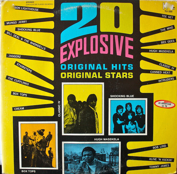Compilation Various ‎– 20 Explosive Hits - VG+ Lp Record 1971 Stereo Original K-Tel USA - Pop Rock / Soul