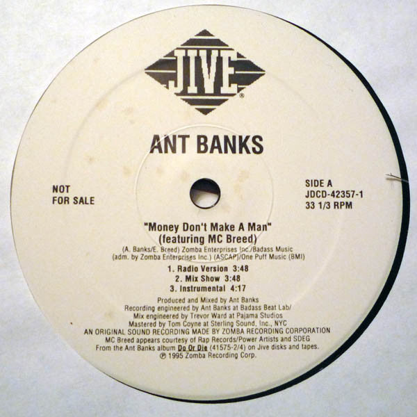 "Ant Banks – Money Don't Make A Man - Mint- 12"" USA 1995 Promo - Hip Hop"