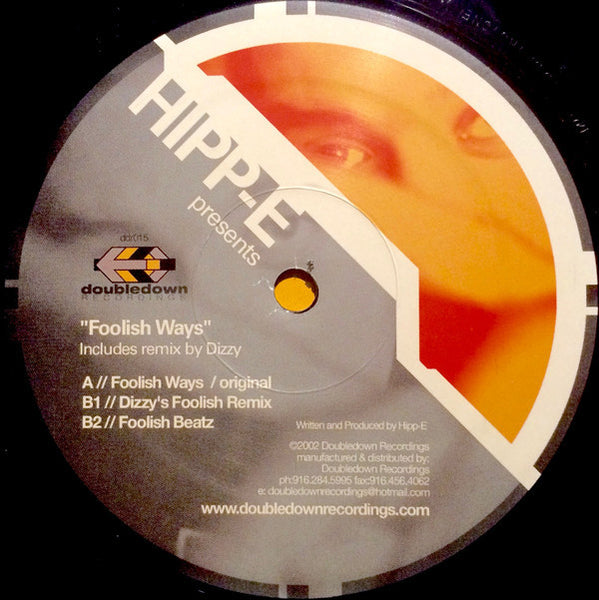 "Hipp-E ‎– Foolish Ways - Mint- 12"" Single 2002 - Deep House"