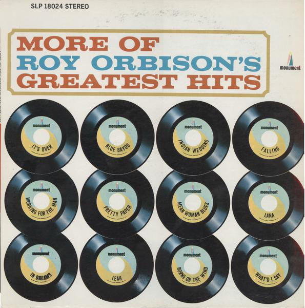 Roy Orbison ‎– More Of Roy Orbison's Greatest Hits - VG+ 1964 Stereo Original Press Record USA - Rock