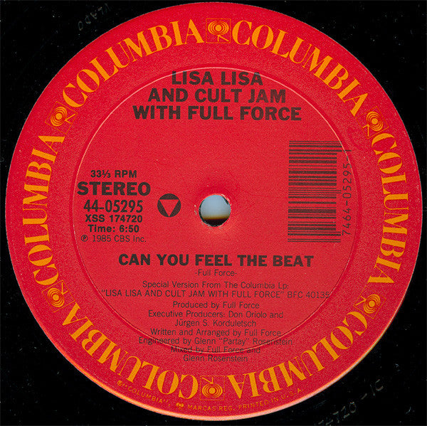 "Lisa Lisa & Cult Jam With Full Force ‎– Can You Feel The Beat - VG+ 12"" Single Record USA 1985 - House / Electro"